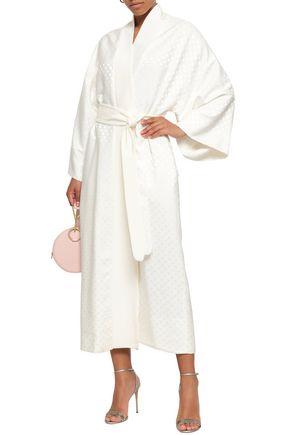 RACIL Polka-dot silk-jacquard robe