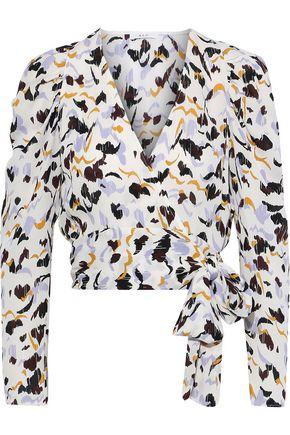 A.L.C. Tessa cropped printed silk wrap top