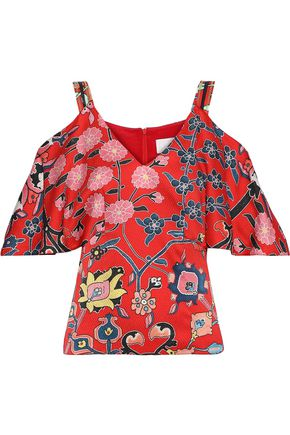 PETER PILOTTO Cold-shoulder floral-print hammered stretch-silk top
