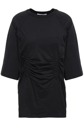 TIBI Oversized ruched cotton-jersey T-shirt