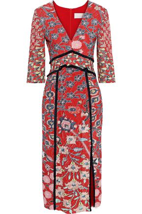 PETER PILOTTO Fringe-trimmed floral-print fil coupé crepe de chine midi dress