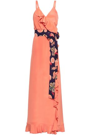 RACIL Ruffled silk crepe de chine maxi wrap dress