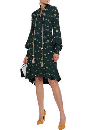 PETER PILOTTO Tie-neck tasseled metallic fil coupé crepe dress