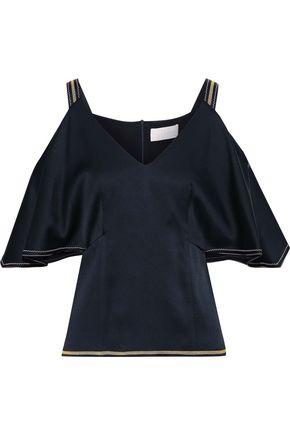 PETER PILOTTO Cold-shoulder ruffled satin-crepe blouse