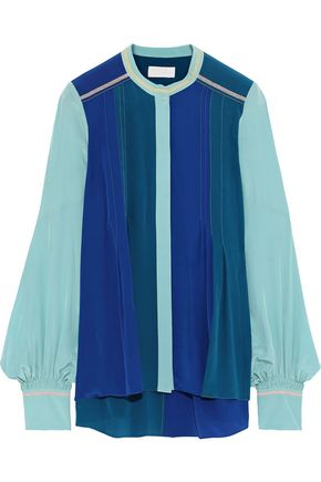 PETER PILOTTO Pintucked color-block silk crepe de chine shirt