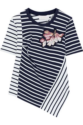 PETER PILOTTO Asymmetric appliquéd striped cotton-jersey T-shirt