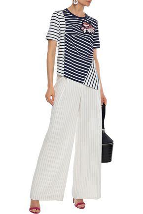 PETER PILOTTO Asymmetric appliquéd striped cotton-jersey T-shirt