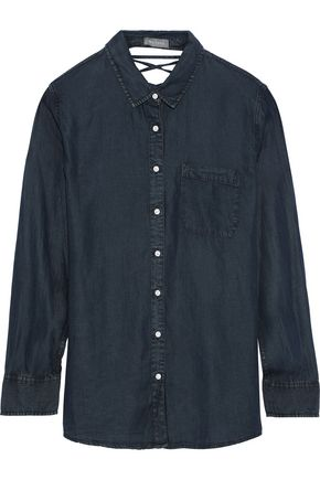 DL1961 Nassau & Manhattan lace-up Tencel-chambray shirt