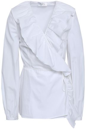 RACIL Ruffled cotton-poplin wrap blouse