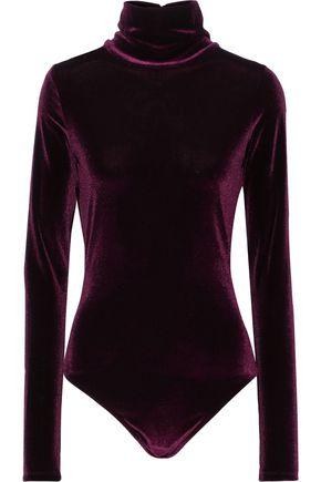ALIX Sylvan open-back velvet turtleneck thong bodysuit