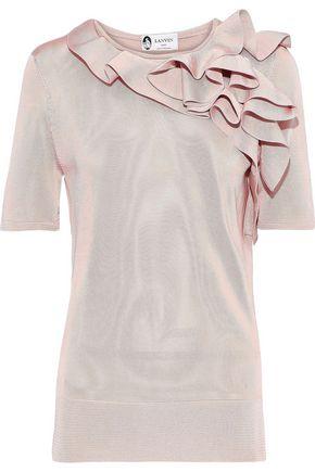 LANVIN Ruffled stretch-knit top
