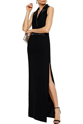 LANVIN Satin-trimmed cady gown