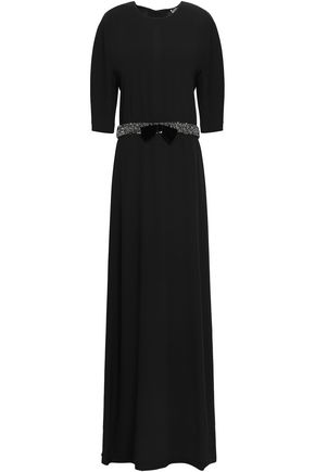 LANVIN Appliquéd open-back crepe gown