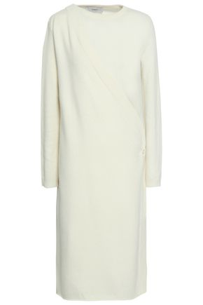 PRINGLE OF SCOTLAND Wrap-effect wool and cashmere-blend midi dress
