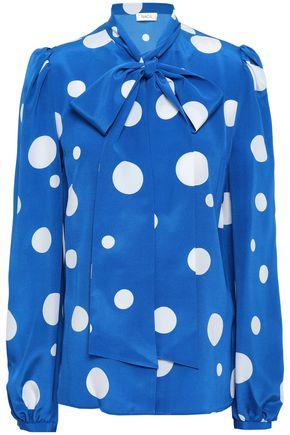 RACIL Pussy-bow polka-dot silk crepe de chine blouse
