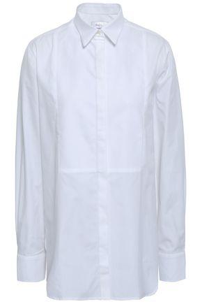 RACIL Piqué-paneled cotton-poplin shirt