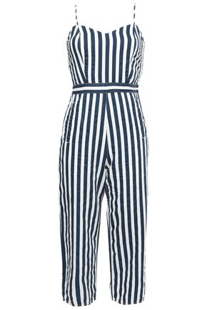 MOTHER Cutout striped denim jumpsuit