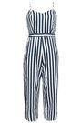 MOTHER Cutout striped denim jumpsuit