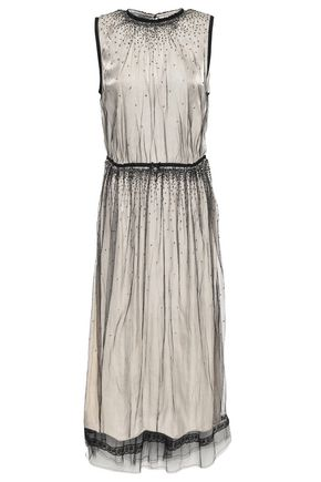 PRADA Iridescent tulle midi dress