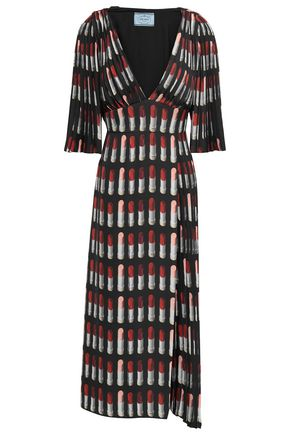 PRADA Pleated printed twill midi dress