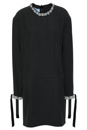 PRADA Embellished velvet-trimmed twill mini dress