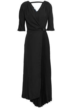PRADA Asymmetric pleated twill midi dress