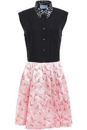 PRADA Cotton-poplin and jacquard-paneled dress