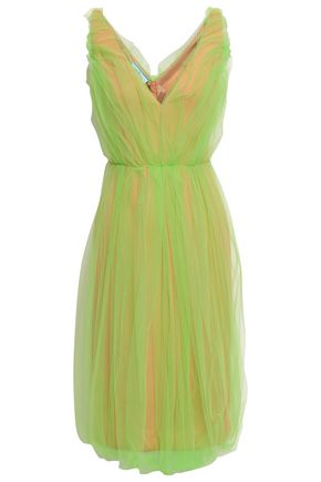 PRADA Gathered layered neon tulle and scuba dress