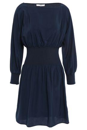 TIBI Ribbed knit-paneled silk crepe de chine mini dress