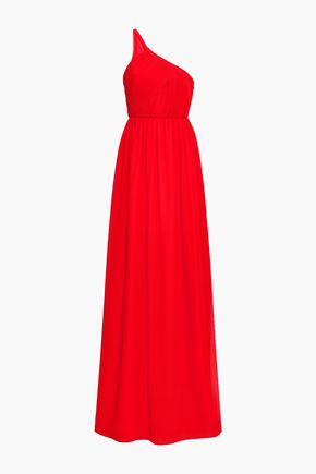 LANVIN One-shoulder plissé silk-georgette gown