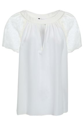 LANVIN Lace-paneled cutout silk crepe de chine top