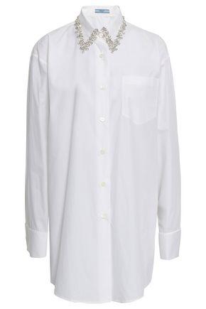 PRADA Crystal-embellished cotton-poplin shirt