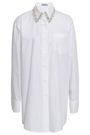 PRADA Crystal-embellished cotton-poplin shirt