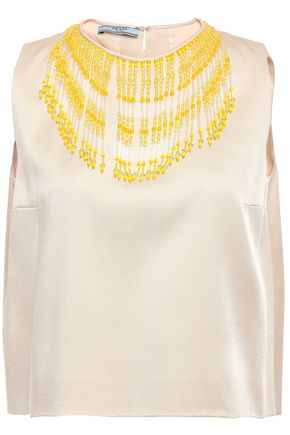 PRADA Beaded cropped crepe-satin top