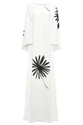 OSCAR DE LA RENTA Cape-effect printed cady gown