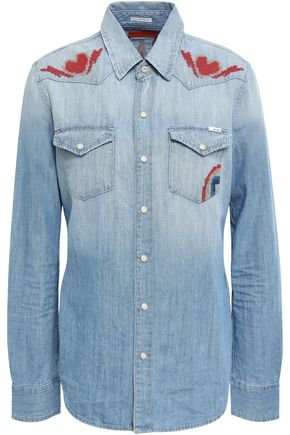 MOTHER Embroidered cotton-chambray shirt