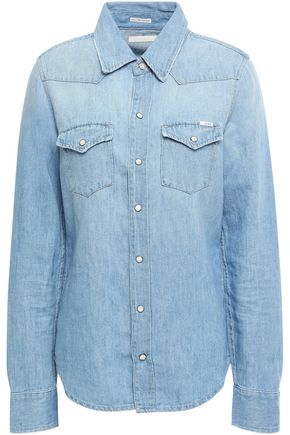 MOTHER Cotton and linen-blend chambray shirt