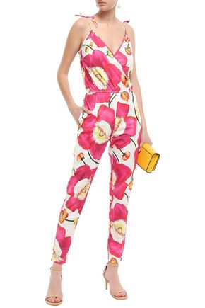 ISOLDA Wrap-effect stretch-cotton poplin jumpsuit