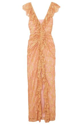 ALICE McCALL Ruffled split-front lace gown