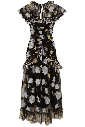 ALICE McCALL Scalloped tiered embroidered tulle midi dress