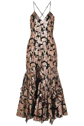 ALICE McCALL Metallic silk-blend jacquard midi dress