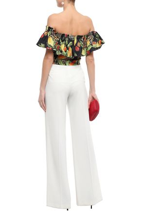 ISOLDA Off-the-shoulder printed stretch-cotton poplin shirt