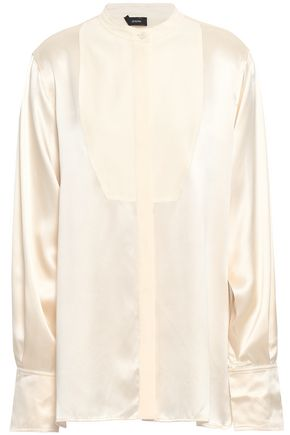 JOSEPH Twain crepe de chine-paneled silk-satin blouse