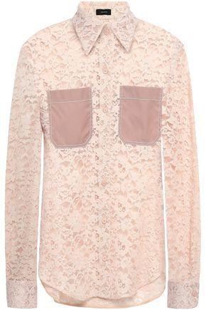 JOSEPH Poplin-paneled cotton-blend lace shirt