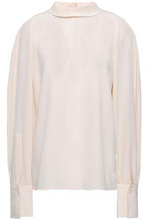 JOSEPH Ruched silk-crepe blouse
