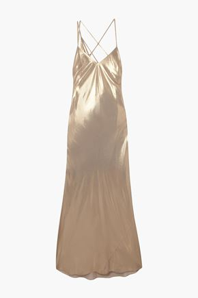 MICHELLE MASON Open-back draped lamé gown