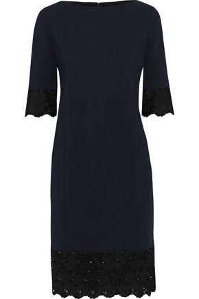 LANVIN Guipure lace-trimmed crepe dress