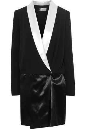LANVIN Double-breasted wrap-effect crepe and satin mini dress