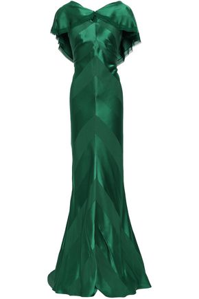 ZAC POSEN Draped frayed satin-crepe gown