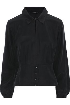 J BRAND Lindsay washed-silk peplum blouse